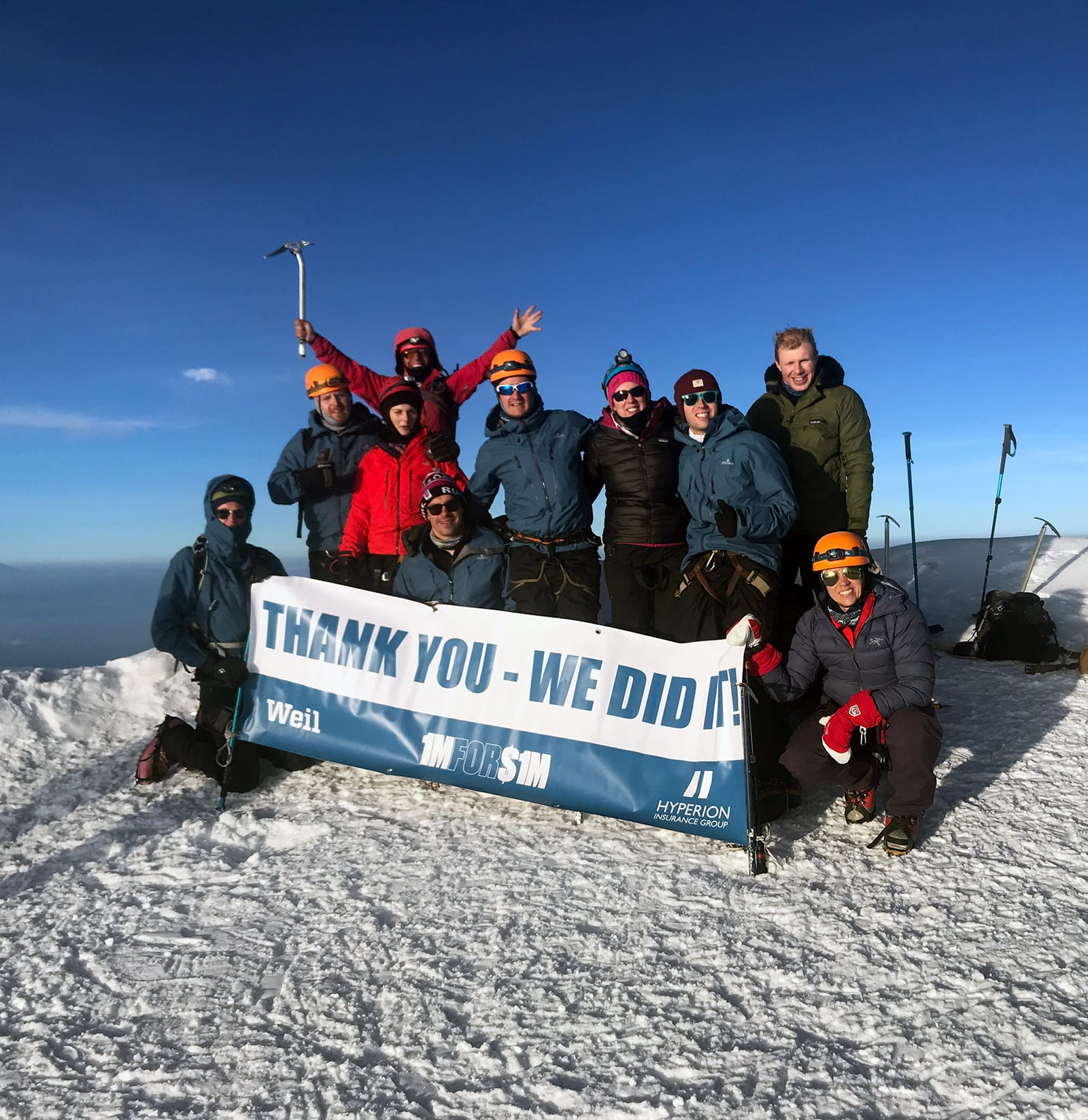 Mountainerers at the top of a mountain